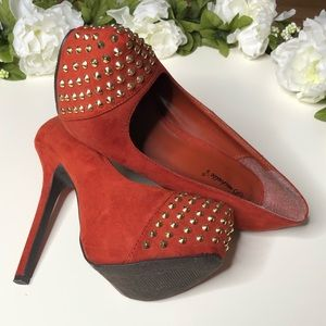 Burnt Orange Colored Pumps with Gold Spike Toe